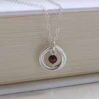 Simple Wedding Necklace - Sterling Silver Wedding Necklace with Moibus Spiral & Freshwater Burgundy Pearl Pendant-- MADE TO ORDER