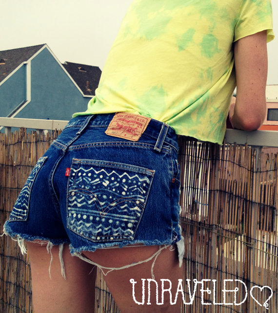 High Waist Denim Shorts with Tribal pockets by UnraveledClothing
