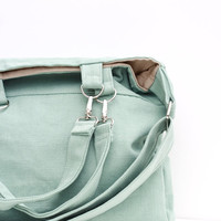 Large Organic Cotton Canvas Satchel. Mint Green Purse. Heavy Weight Cotton Canvas. For Her. For Him. Unisex Fashion