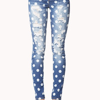 Destroyed Polka Dot Skinny Jeans | FOREVER21 - 2061493560