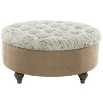 Round Tufted Scripted Ottoman - Belle Escape