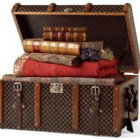 Medium Voyager Trunk: Bonis Black - French Country - Pierre Deux