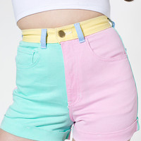 American Apparel - Color Block Stretch Bull Denim High-Waist Cuff Short