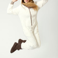 Barbara Shearling Sheep Hooded Animal Onesuit