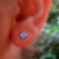 Opal Square Stud Earrings 4mm Sterling Silver Handcrafted