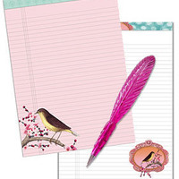 PLASTICLAND - Lined Birdie Note Pads and Plume Pen Set