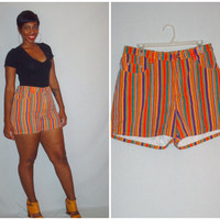Vintage 1990s Multicolored Shorts High Waist Stripe