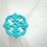 Two Metal Curtain Tie Backs / Curtain Tiebacks / Curtain Holdback / Drapery Tie Back / Shabby Chic / Turquoise Home Decor / Tiffany Blue