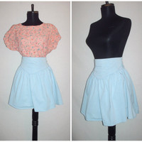 Vintage 1980s Skater Skirt High Waist Light Blue
