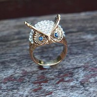 Blue Eye Owl with Rhinestone Ring Gold from topsales