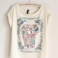 Cotton T-shirt with Walking Elephant Print GEQ349 from topsales