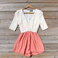 Night Tide Lace Romper in Peach, Sweet Women's Bohemian Clothing