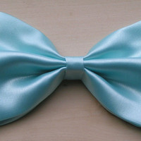 Sky Blue Satin Fabric Hair Bow, Hair Bow for Women and Teens, kids hair bows, fabric hair bows
