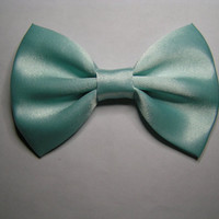 Hair Bow- Light Mint Satin Hair Bow Clip, fabric hair bow, large fabric bow, hair barrette, satin bow