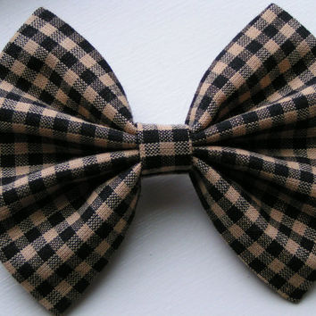 Checkered Black and Khaki color Fabric hair Bow, Tenns bows, kids bows, women size bows,Fabric bows, baby
