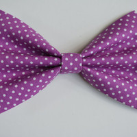 Hair Bow-Purple with polka dots, Fabric- Hair Bows, hair bows for women, hair bows for teens, fabric-Bow, Bowse