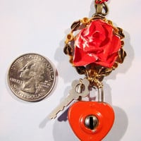 OOAK Steampunk Queen of Hearts Necklace Alice in Wonderland Necklace Red Rose Pendant Padlock Key Vintage Upcycled Jewelry Fish Scale Rose