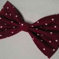 Red with polka dots Bow, Bow for girls and teens, women hair bow, fabric bow, Bow