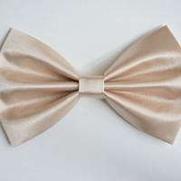 Hair Bow - Nude Color Satin Hair Bow Clip, fabric hair bow, large fabric bow, hair barrette, satin bow