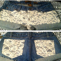Lace sequin denim shorts  by AngeliqueMerici on Etsy