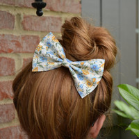 Hair Bow-Floral, Blue and Yellow floral hair bow for teens and women perfect for long hair styles