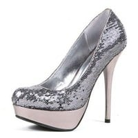 Silvia Silver Sequins Pumps