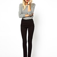 ASOS High Waist Trousers in Cotton Twill at asos.com