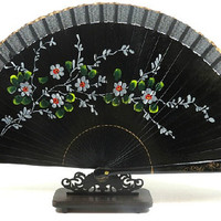 hand painted fan, chinese fans, china silk, folding fan, flower, accessory, dance fans