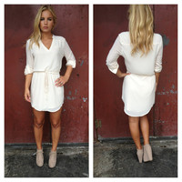 Cream Drawstring 3/4 Slv Dress