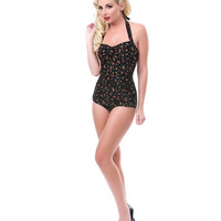 Vintage 1950s Style Black Floral Swimsuit - Unique Vintage - Prom dresses, retro dresses, retro swimsuits.