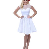 White Taffeta & Chiffon Sweetheart Lolita Swing Dress - Unique Vintage - Prom dresses, retro dresses, retro swimsuits.