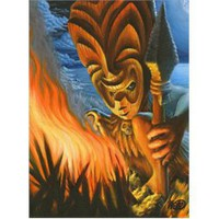 Tiki Warrior by Will Thompson Tattoo Art Canvas Print
