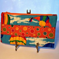 Clutch Purse Turquoise Blue Orange Colorful Sky with Divider
