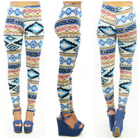 Southwestern Blues Tribal Print Leggings