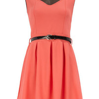 Coral sweet-heart dress - Day Dresses - Dresses - Dorothy Perkins