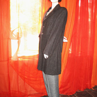 Amaizing Vintage TRUE WEST My Boyfriend's Coat Military Style Gray Wool Lined S 16/ 42 Made in USA