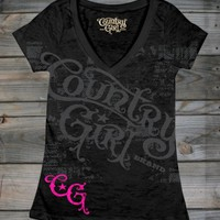 Juniors Country Girl ® Star Deep V-Neck Burnout Tee