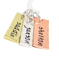 Personalized Mommy Necklace - Hand Stamped Mixed Metals