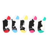 Disney Princess Silhouette No-Show Socks 5 Pack | Hot Topic