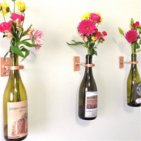 HARDWARE ONLY - 3 Wine Bottle Wall Flower Vase Kits - copper, silver or iron hardware - party favor - hostess gift