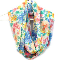 Floral Infinity Scarf. Circle scarf. Loop Scarf. Women Accessories