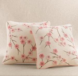 cherry blossom wool felt pillow cover | decorative pillows | Restoration Hardware Baby & Child