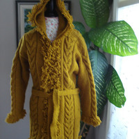 Ready to ship/Mustard Yellow Ruffle trimmed/Hand Knitted Wool Hooded Winter Coat / will fit women size small/medium/large and X Large