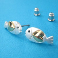 Small Fish Animal Earrings in Silver with Gold Heart Detail- ALLERGY F