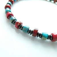 Magnetic Hematite Bracelet - Ruby and Turquoise Impression Jasper Bracelet, Anklet, Necklace, or Pet Collar