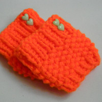 Neon orange Short Knit Boot Cuffs with neon heart button Short Leg Warmers. Crochet Boot Cuffs Mint Legwear, Boot Socks