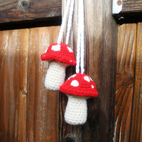 Plush Crochet Red Hanging Mushroom Toadstool Stuffies, MADE TO ORDER. Patchouli Aphrodesia, Lily of the Valley or Rose Scented.