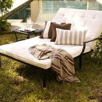Riviera Double Chaise & Cushion | Pottery Barn