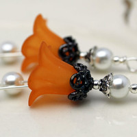 Vintage Style Orange Lucite Flower and White Czech Pearl Bead Dangle Charm Drop Pair