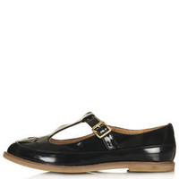 MARTIE Patent T Bar Geek Shoes - Flats  - Shoes